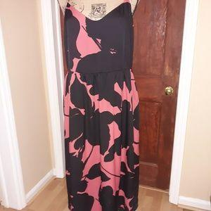 LOFT  red & black dress with pockets.  12